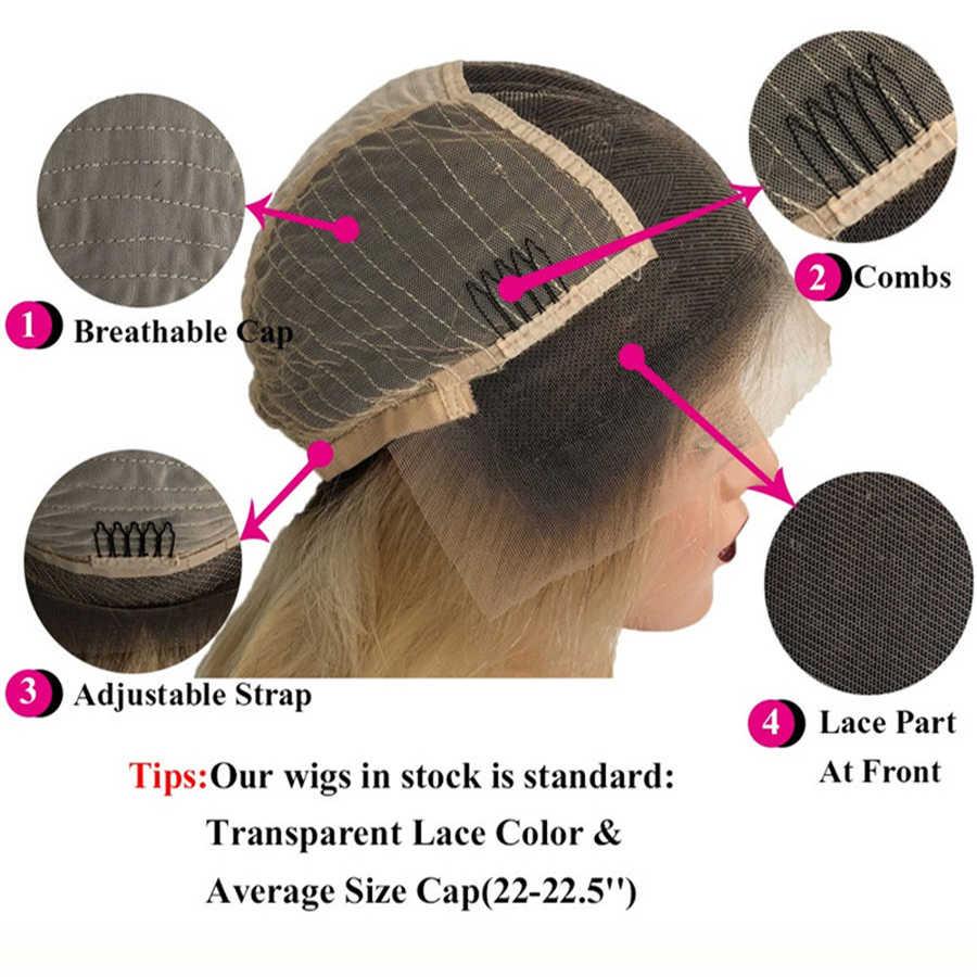 Beeos блондинка 613 короткий парик-Боб Цветной перуанский прямой 13*6 Синтетические волосы на кружеве человеческих волос парики предварительно выщипать волосяного покрова парик из натуральных волос