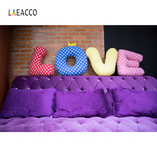 Laeacco Headboard Surface Blue Love Pillow Bed Brick Wall Interior Photo Backgrounds Photography Backdrop Photocall Studio