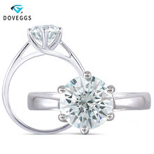 DovEggs Slight Blue 2ct 8mm Moissanite Engagement Ring For Women Thick Sterling Solid 925 Silver Classic Wedding