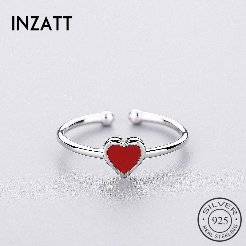 INZATT Romantic Red Heart Enamel Ring 925 Sterling Silver For Charm Women Wedding Party Fine Jewelry Fashion 2018 Cute Gifts