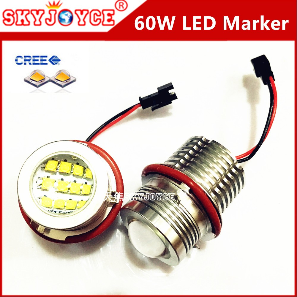 2X 60W Led marker angel eyes for E39 E87 E61 E63 E64 E83 E53 Car Styling Accessories DRL xenon white marker choice H8 marker led (3)