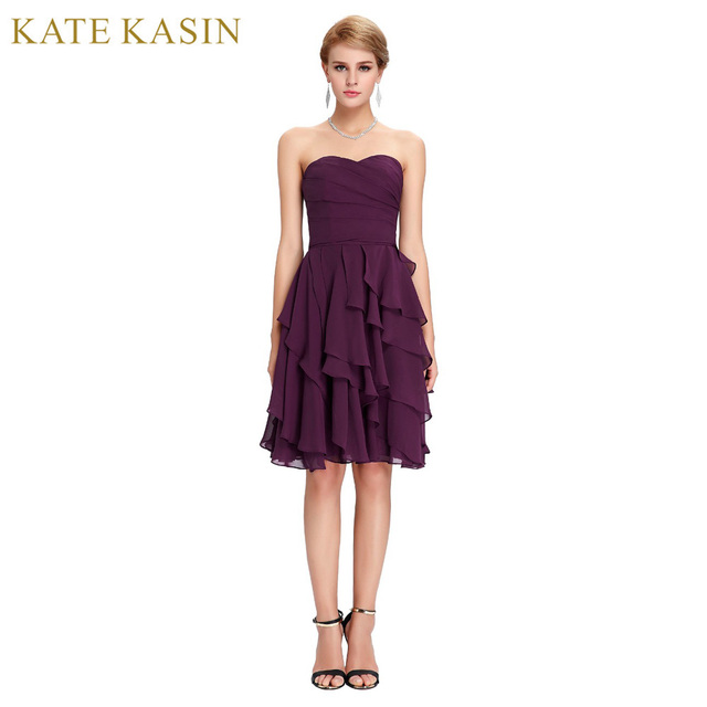Free Shipping Cocktail Dresses For Women Sexy Strapless Knee Length Elegant  Formal Gowns Purple Ruffles Summer