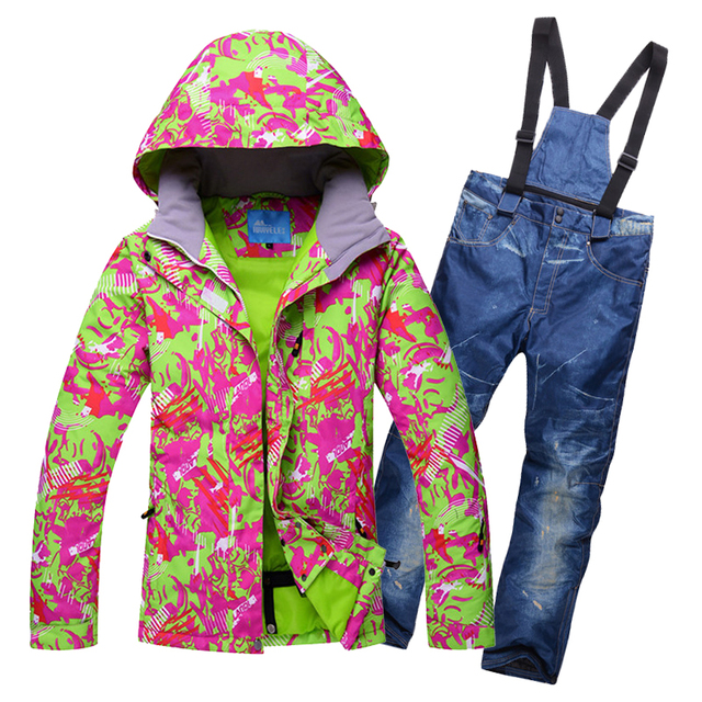2018 Women Ski Suit Windproof Waterproof Thermal Winter Suit Skiing Snowboard Jacket Pant Outdoor Sport Wear Super Warm Suit Set