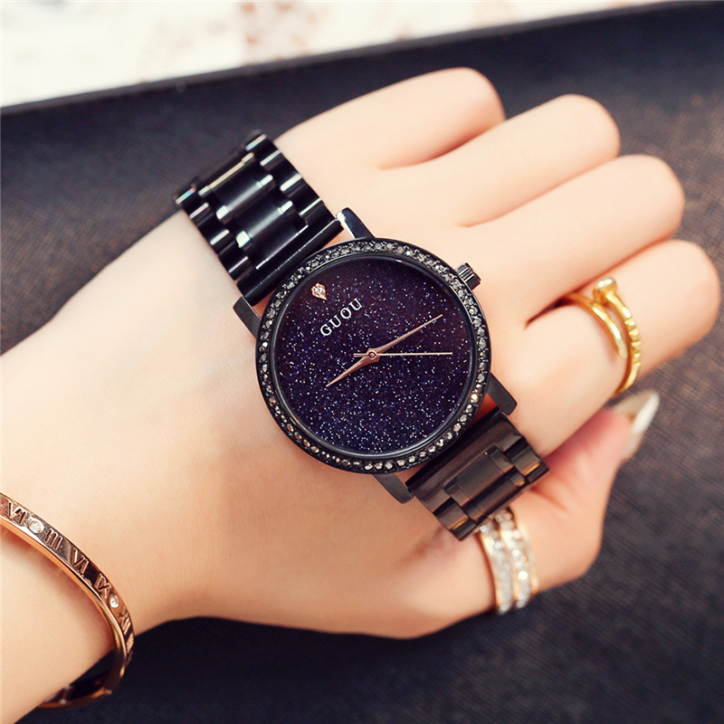 2018 GUOU Watch Fashion Women Cool Black Sky Star Luxury Stylish Crystal Rhinestones Quartz Watches Big Dial Waterproof Watches women s stylish zinc alloy rhinestones quartz analog bracelet watch black silver 1 x 377