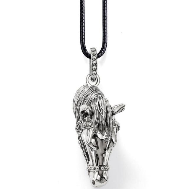 Famosa marca dos homens do vintage jóias diy animal cavalo pingentes com corda de couro de 18 polegadas cavalo cadeia colar de pingentes de natal