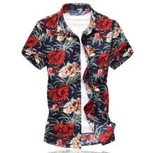 Floral Blouse Mens Clothing Casual New model Shirts Camisa masculina Slim fit Shirt Flower Fashion