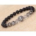 Natural Matte black agate silver lion head Buddhist Buddha Meditation Beads Bracelets Jewelry Prayer Bead Bracelet free shipping
