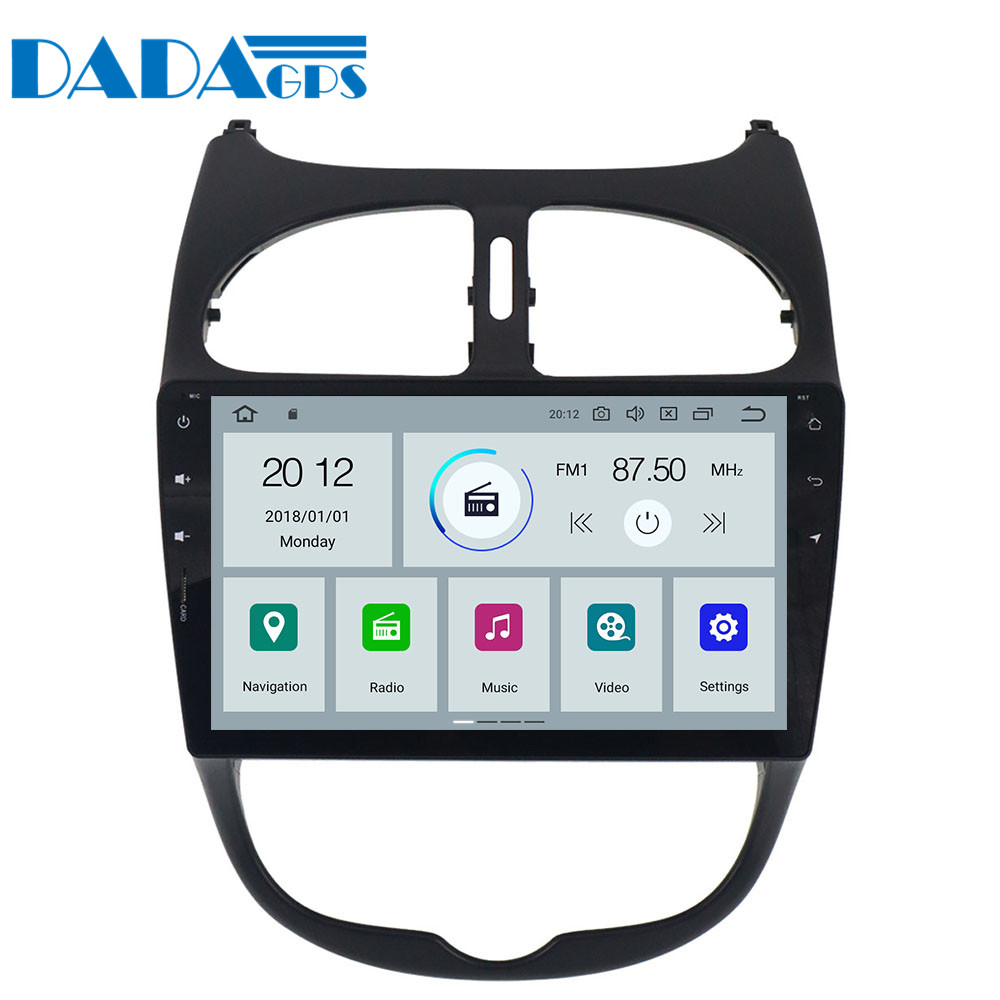 Newest Android 9 0 Radio Car Stereo GPS Navigation for Peugeot 206 2000 2016 Vehicle Head