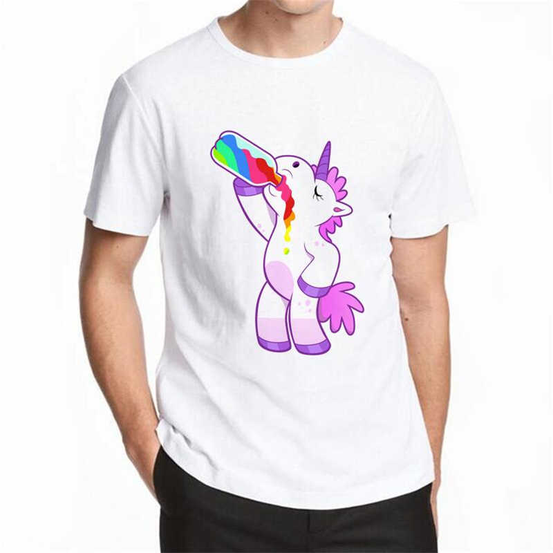 Dabbing Unicorn t-shirt Men T Shirt Short Sleeve O-Neck Tops Fashion Cat Cartoon Hip Hop men tops hipster Rainbow Unicorn S-5XL