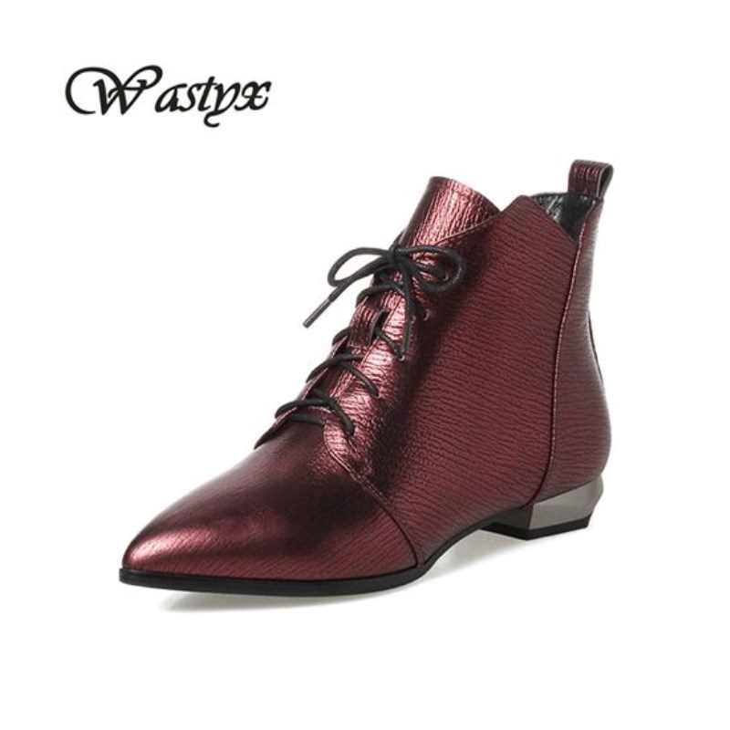 Wastyx new genuine leather pointed toe mature style high heel lace up boots winter shoes office lady lace up fashion ankle boots front lace up casual ankle boots autumn vintage brown new booties flat genuine leather suede shoes round toe fall female fashion