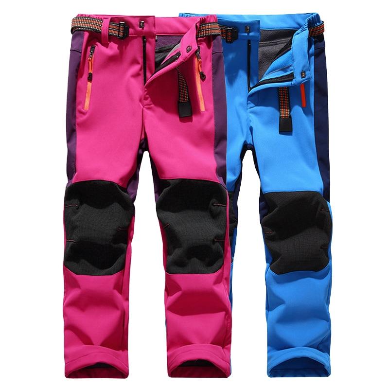 LoClimb Boys Girls Hiking Pants Kids Winter Warm Leggings Children Waterproof Fleece Softshell Trousers For Ski Trekking,AC001