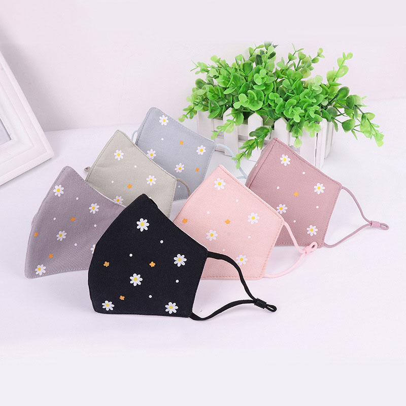 PM2.5 Anti-Haze Mouth Mask Breathable Cotton Fashion Black Reusable Face Pink Shield Wind Proof Flower Mouth Cover M017