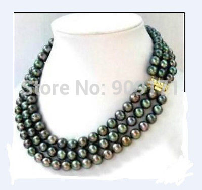 Free Shipping Hot sell Noble triple strands 8-9mm natural south sea black pearl necklace 18 Clasp
