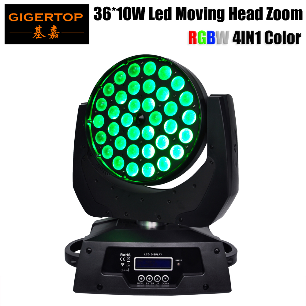 TIPTOP 36 x 10W RGBW 4IN1 Zoom Led Moving Head Light DMX 14CH Stage Washer Effect Light led zoom moving head light Led Scanner freeshipping tiptop 200w led profile spot rgbw 4in1 stage wash effect cast aluminum gobo frame spring clip safety zoom tp 007