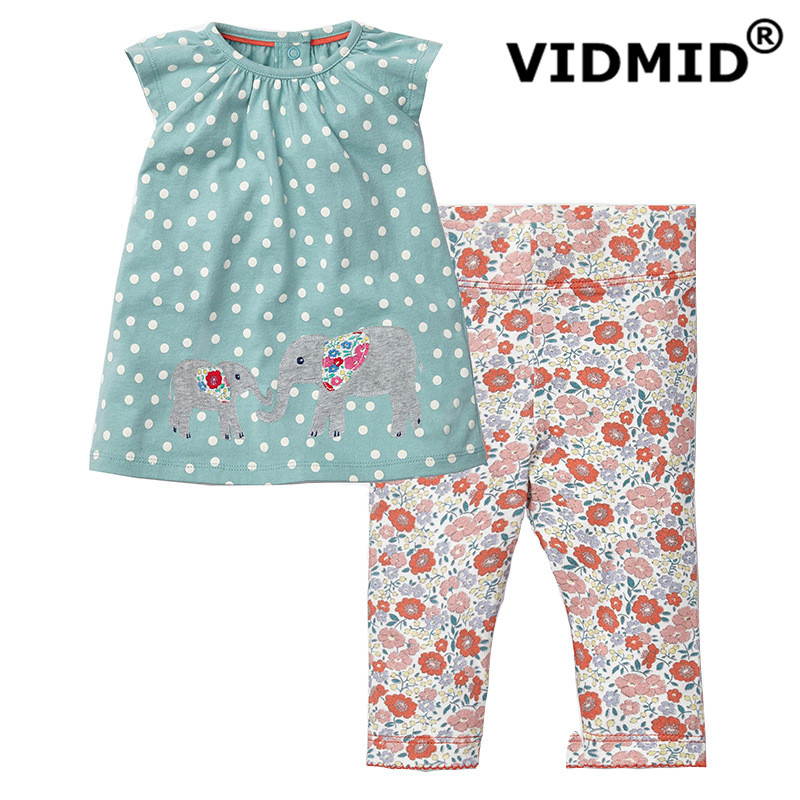 VIDMID girls clothing set baby girls clothes suits for girls summer t-shirt + pants children's clothing for baby cute cotton 2017 new summer baby boys girls clothes set children clothing set kids minnie shirt cotton vest pants baby girls cartoon suits