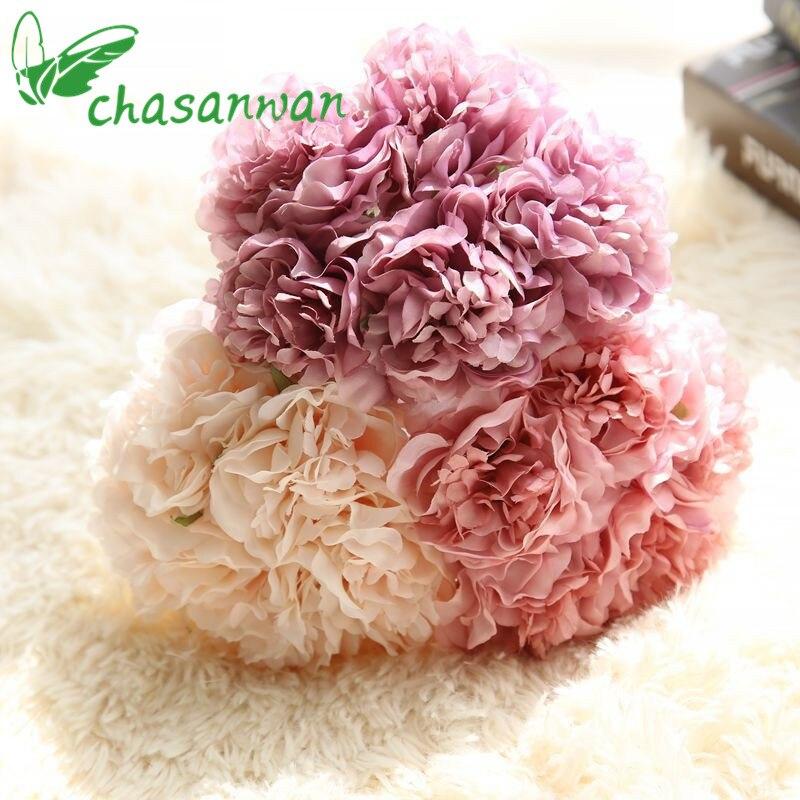Barato! 5 Unids Peonías Flores Artificiales Ramo de Novia de Flores Artificial Para Decoración de La Boda Decoración Para El Hogar Accesorios, Q