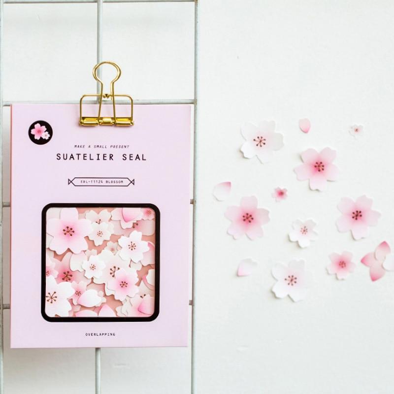 4 Sheets /Pack Romantic Sakura DIY Stickers Decorative Scrapbooking Diary Album Stick Label