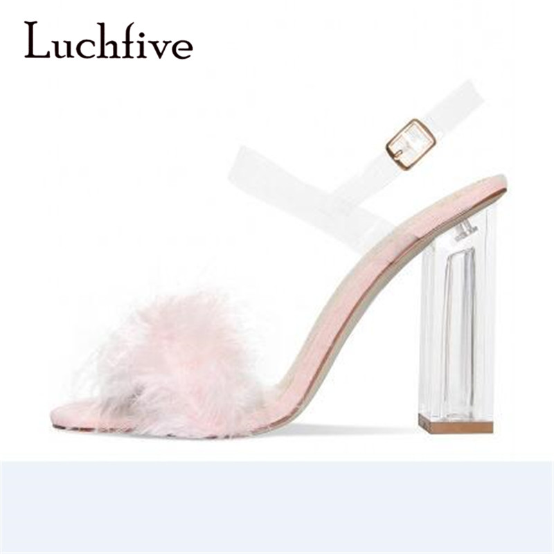 New arrival open toe women sandals transparent chunky high heels ankle buckle strap summer black pink light brown zapatos mujer double ankle strap chunky heels black