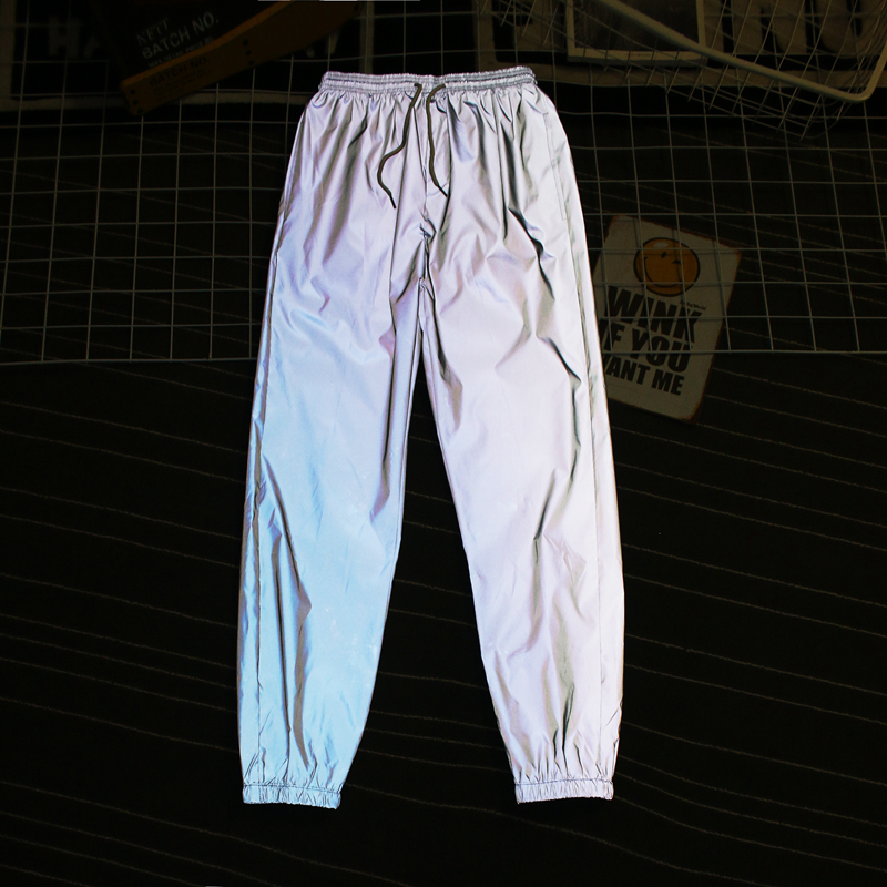 Neverfunction Men Streetwear Reflective Night Sweatpants Elastic Waist Male Hip Hop