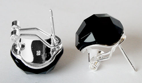 t 925 Sterling bijoux en argent noir facettes Inlay boucles doreilles