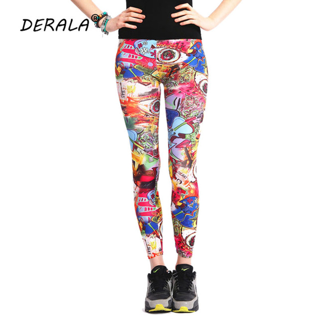 54936ad07c07 2018 Ladies Xmas Style Punk Rock Graffiti Print Leggings High Elastic Waist  Stretch Womens Leggings Pants