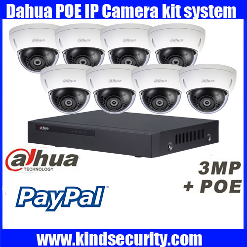 Original English Dahua 8ch waterproof IPC HDBW4421R AS 3MP dome POE onvif IP camera kit with