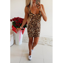 2019 Spring And Summer New Hot Women Sexy Square Collar Slim Waist Leopard Print Package Hip Fashion Casual Short Dress F3