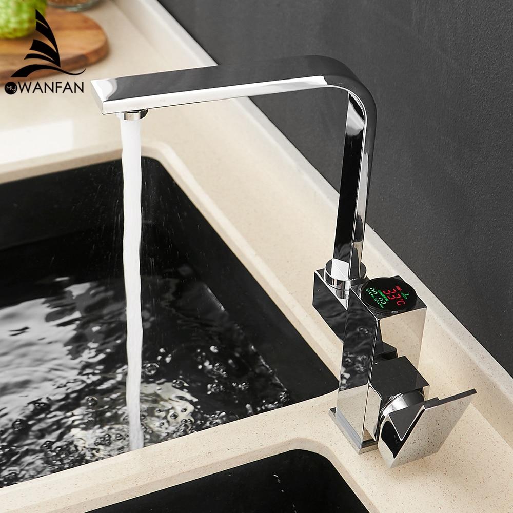Kitchen Faucet Digital Torneira Para Cozinha Water Power Sink Mixer Brass Chrome Temperate Display Faucet Smart Tap 866023