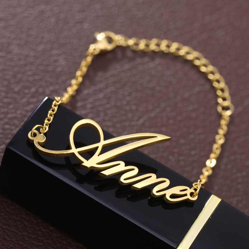 Fashion Personalized Custom Name Bracelets For Women Girls Stainless Steel Engraved Handwriting Charms Bracelet & Bangle Jewelry