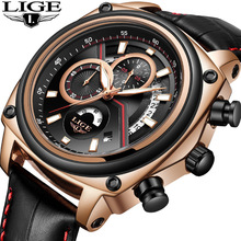 2018 LIGE Brand Men's Fashion Casual Sport Watches Men 30M Waterproof Leather Quartz Watch Man Military Clock Relogio Masculino цена и фото