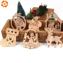 5PCS DIY Creative Multi Christmas Wooden Pendant Ornaments For Home Party Xmas Tree Kids Gifts Decorations