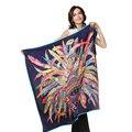 Luxury brand дизайнер печати большой площади атласные платки и обертывания женщины шейный платок хиджаб платки femme чистого шелка шарф 110*110 см