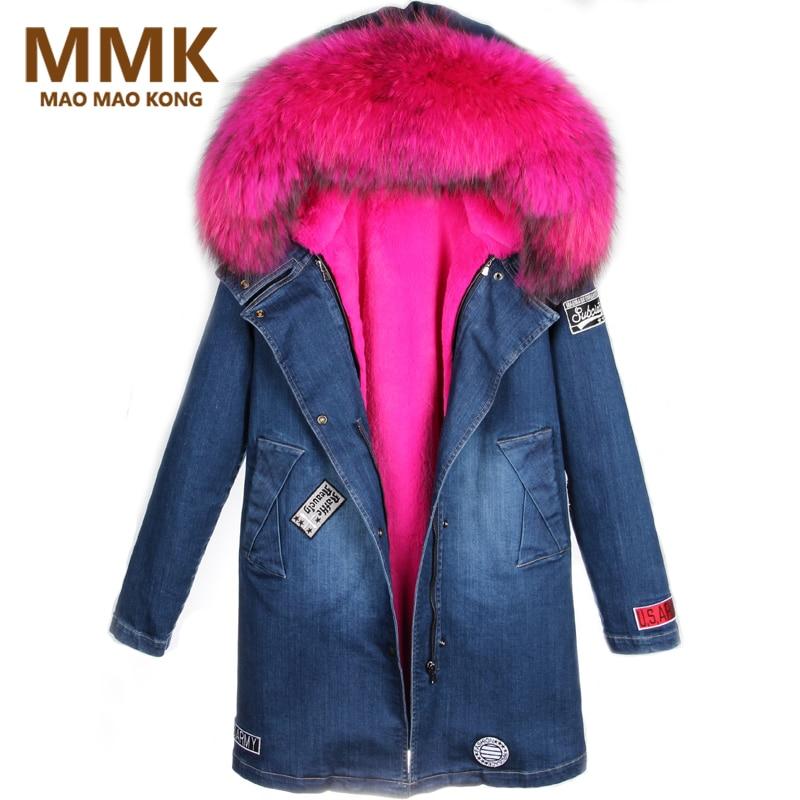 bb1ebed1fb Women Winter Parka Fur Jacket Long Fashion Denim Coats Thick Large Real  Raccoon Fur Collar Detachable