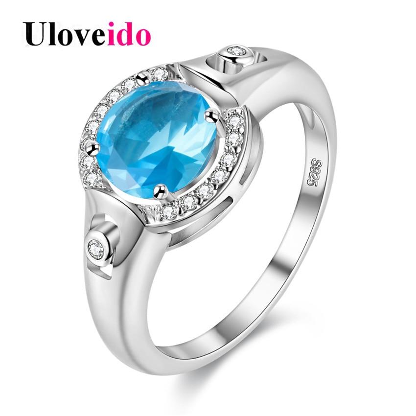 Uloveido Women Rings Wedding Band Silver Color Blue