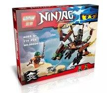 Ninja 114 шт. Ninjagoed коула Dragon Building Blocks DIY Собрать Рисунок Строительство Просветить Кирпичи Игрушки Legoegoly