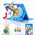 Fashion Cartoon New Despicable Me Minions Character Filp PU Leather Stand Case smart Cover For ipad Air 2 with screen protector