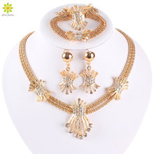 Latest Fashion African Beads Jewelry Set  Gold Color Clear Crystal Women Wedding Necklace Bracelet Earring Ring