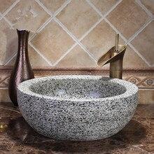 Lavabo de cerámica de estilo antiguo, Europeo, lavabo con encimera, lavabo de cerámica gris, lavabo de baño