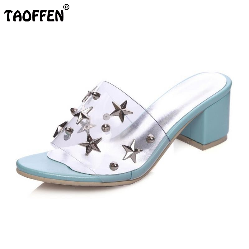TAOFFEN Women High Heeled Sandals Squared Heels Open Toe Summer Sandals Slippers Casual Sapatos Femininos Shoes Size 34-39 summer women leather high heeled shoes sandals rhinestone pump sandals ladies open toe slippers plus size 33 41