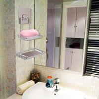 Behogar 벽 마운트 끈적 샤워 욕실 주방 랙 선반 홀더 비누 목욕 타월 주방 작은 가제트에 대한 듀얼 레이어