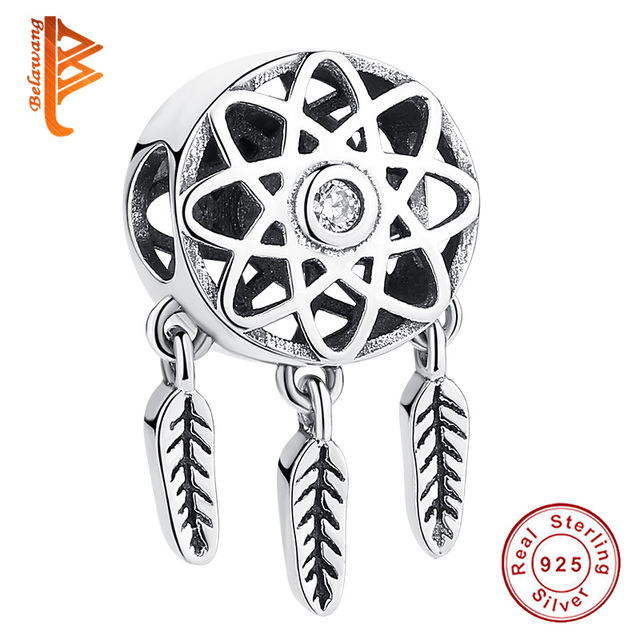 BELAWANG 925 Sterling Silver Dream Catcher Holder Beads fit  Charm Bracelet Necklace DIY Jewelry Valentine's Day Gift
