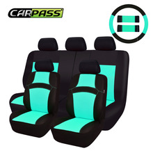 Car-pass  RAINBOW Cute Pink Universal Car Seat Covers 40/60 7 Color  Rose/Red/Orange/Green Seat Covers With Steering Wheel Cover