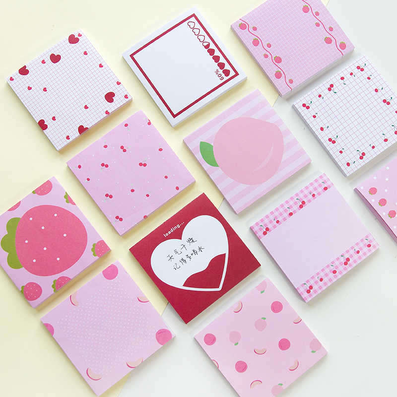 Kawaii Pink Strawberry Cherry Heart Memo Pad INS Planner Notepad Cute Stationery Paper Bookmarks papelaria School Office Supply