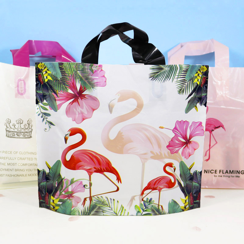 50pcs <font><b>Plastic</b></font> Clothing <font><b>Bag</b></font> <font><b>with</b></font> <font><b>Handle</b></font> Flamingo Shopping Package <font><b>Bag</b></font> Thank You Transparent <font><b>Plastic</b></font> <font><b>Gift</b></font> Candy <font><b>Bags</b></font> Wedding Party image
