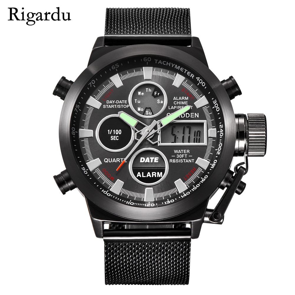 Quartz Wristwatch Mens Watches Top Brand Luxury Sport Military Men Watch Clock Stainless Steel Waterproof Male Wrist Watch #25 sinobi mens military watches luxury quartz watch men clock silicone strap sport watches male wristwatch waterproof reloj hombre