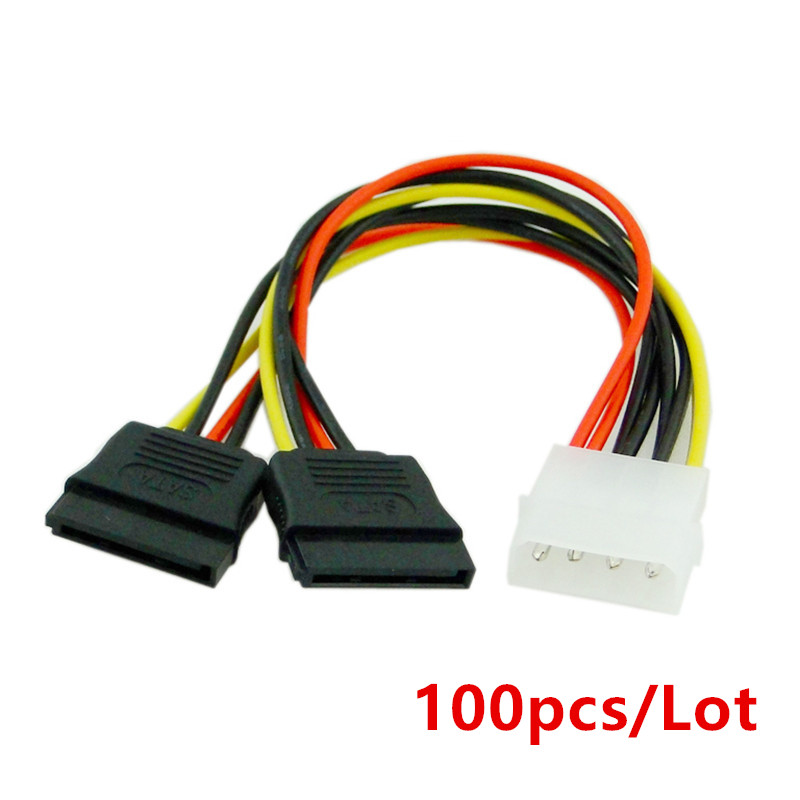 100pcs/Lot 4Pin Molex Male 1 to 2 SATA Female Power Supply Extension Cable IDE Power Port to Dual 15Pin SATA Y Splitter freeshipping 2 pcs lot 4 pin male