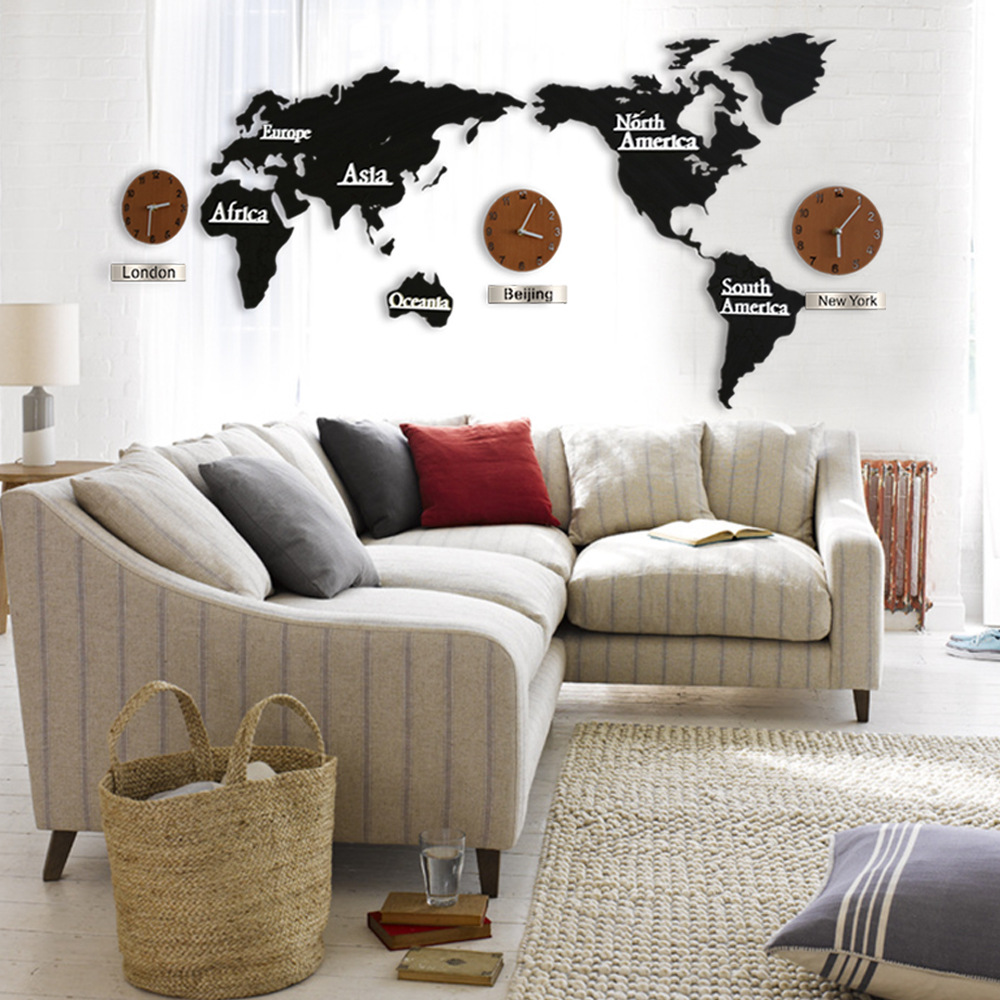2 STYLE Creative 3D Wooden Wall Clock World Map Large Size Wall ...