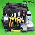 KELUSHI 27 pcs Kit Ferramenta Rescisão Assembléia FTTH de Fibra Óptica com FC-6S Cleaver Visual Fault Locator Tester Medidor De Energia