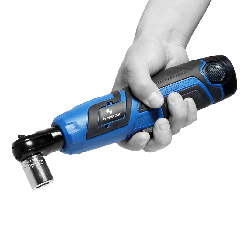PROSTORMER 12v Lithium battery Rechargeable Electric Wrench Portable ratchet wrench 90 degree Power Tool wrench Quick Charger