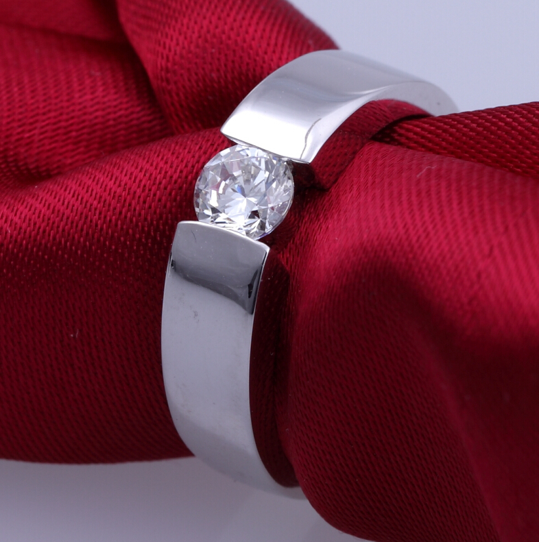 0.5 carat wedding ring pure 925 silver simulation NSCD sona man made diamond ring for women proposal ring (DFE)